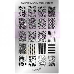 Placa de diseños rectangular Konad. c01