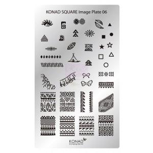 Placa de diseños rectangular Konad. c06