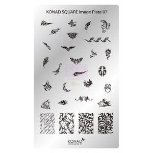 Placa de diseños rectangular Konad. c07