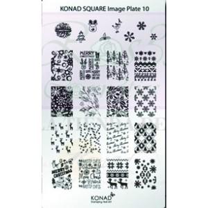 Placa de diseños rectangular Konad. c10
