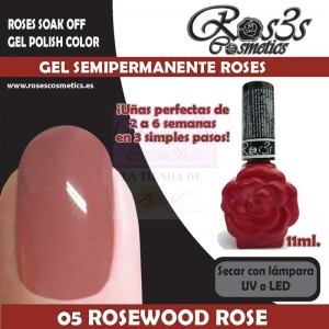 05-Rosewood Rose 11ml Gel Semipermanente Ros3s