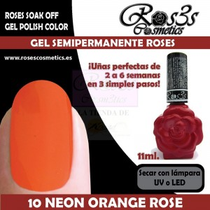 10-Neon Orange Rose 11 ml Gel Semipermanente Ros3s