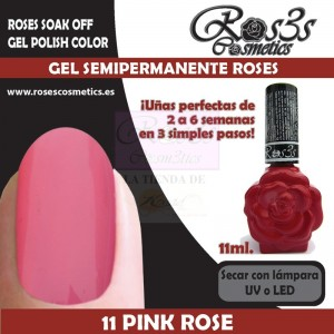 12-Pink Rose 11ml Gel Semipermanente Ros3s