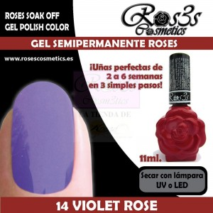 14-Violet Rose 11 ml Gel Semipermanente Ros3s