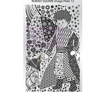 Placa de diseños rectangular Konad. c12