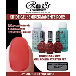 Kit 07 Solid Orange Rose gel semipermanente Ros3s + Regalos
