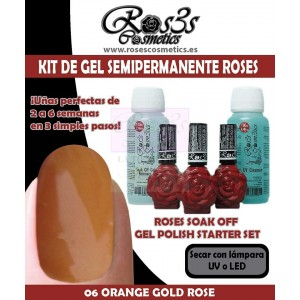 Kit 06 Orange Gold Rose gel semipermanente Ros3s + Regalos