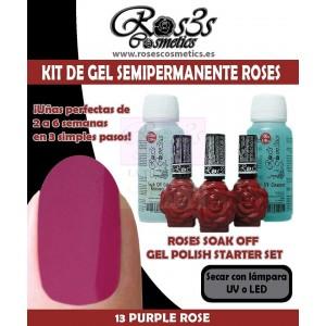 Kit 13 Purple Rose gel semipermanente Ros3s + Regalos