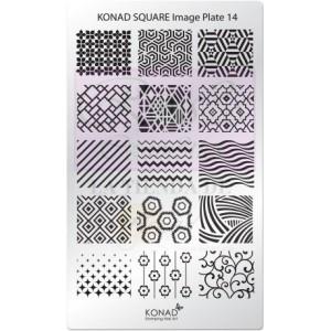 Placa de diseños rectangular Konad. c14
