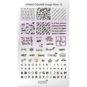 Placa de diseños rectangular Konad. c15