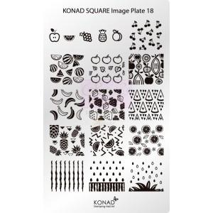 Placa de diseños rectangular Konad. c18