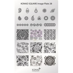 Placa de diseños rectangular Konad. c28