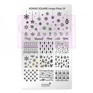 Placa de diseños rectangular Konad. c29