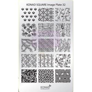 Placa de diseños rectangular Konad. c32