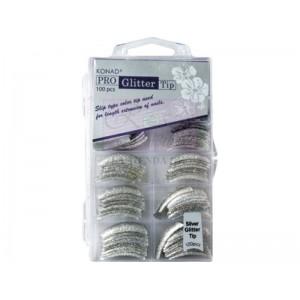 Pro Glitter 100 tip Silver Konad